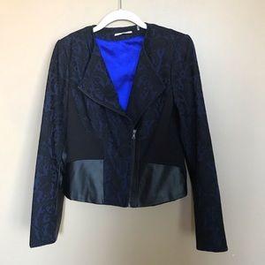 Tahari Blue & Black Jacquard Faux Leather Jacket